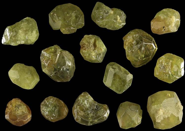Andradite (garnet) crystals