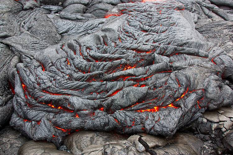 Solidifying basaltic lava flow.