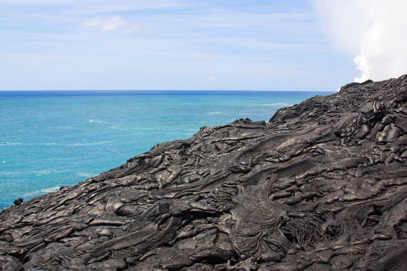 Basaltic lava flow of Kilauea Volcano in Hawai'i