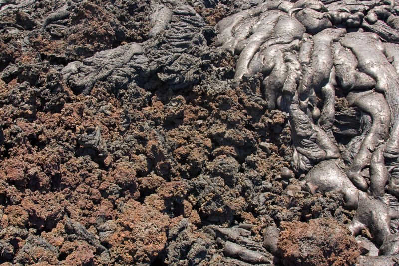 Pahoehoe and aa lava types.