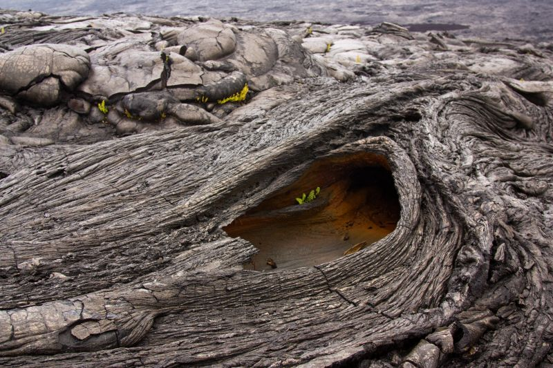 A hole in a lava flow