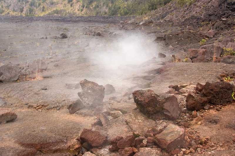 Fumarole on Kilauea Iki lava lake in Hawaii