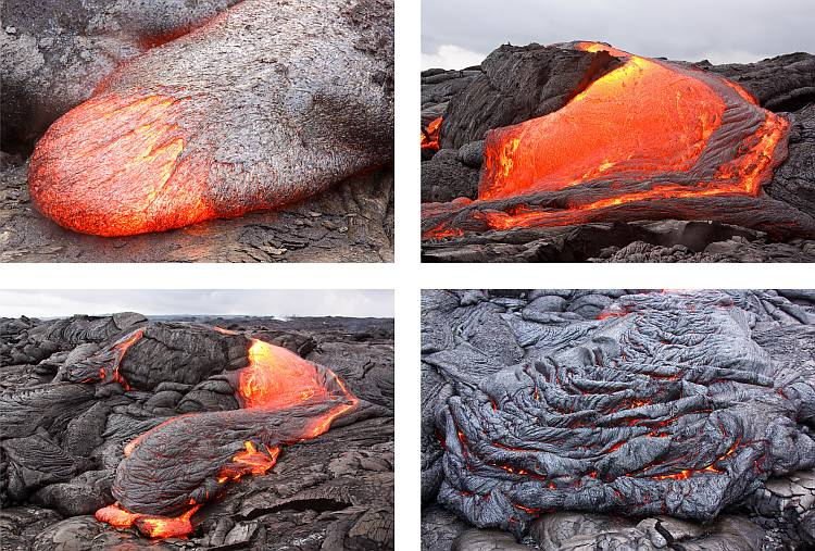 Four images of lava flows from Kilauea