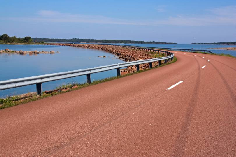 Road dam between skerries in Åland Islands
