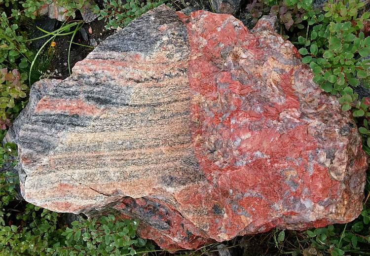 Gneiss and pegmatite contact