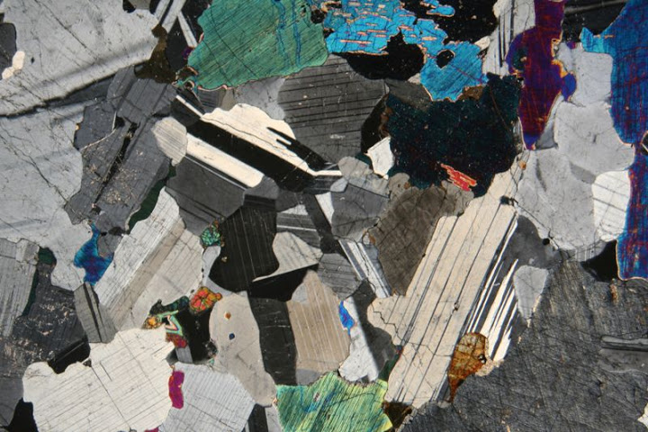Gabbro thin section image interference colors