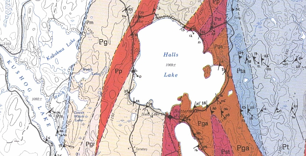 Halls Lake geomap