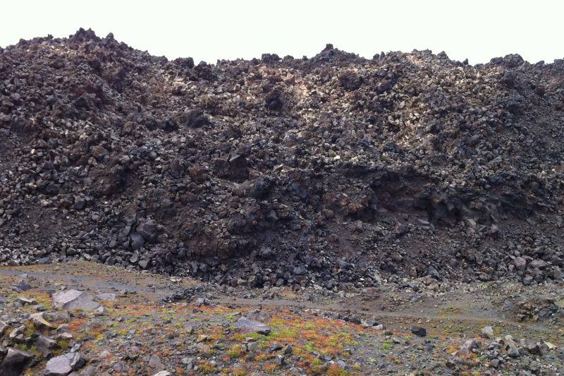 Blocky lava flow in Nea Kameni island in the caldera of Santorini