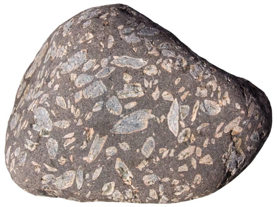 Rhomb porphyry rock sample