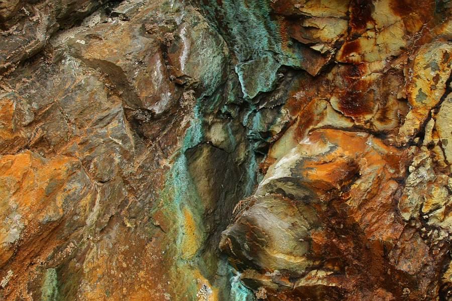 Copper-minerals in a supergene zone
