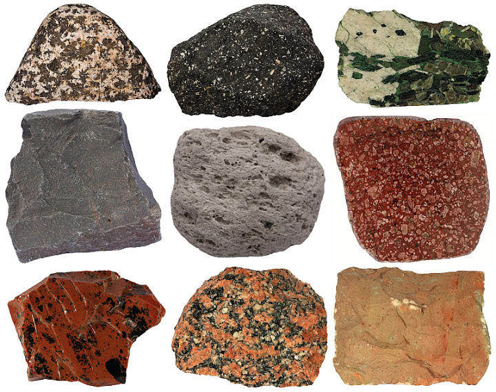 Igneous rock samples