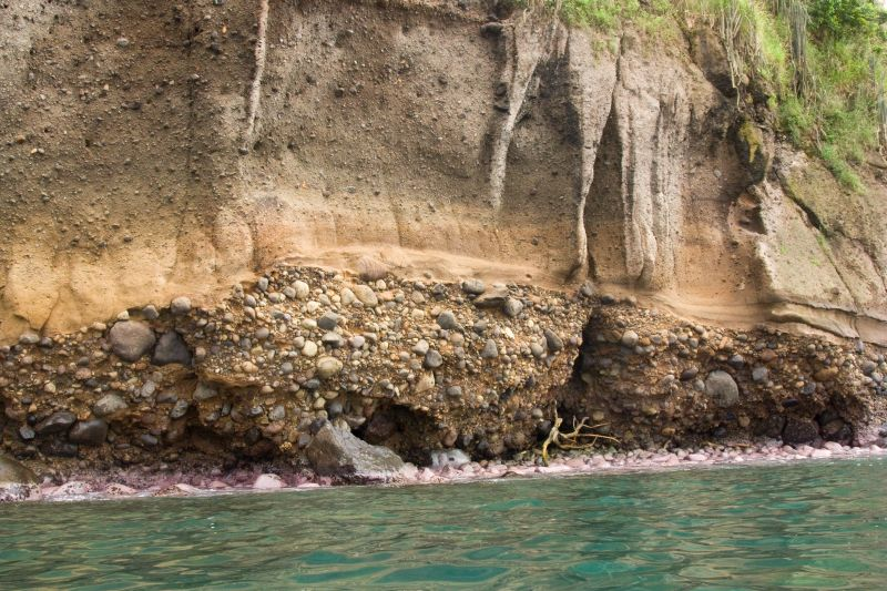 Coastal cliff of Saint Lucia composed of conglomerate and volcanoclastic rocks