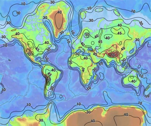Earth's crust thickness